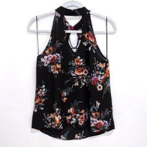 Alice Blue High Neck Top Small Keyhole Floral